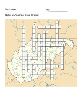 States and Capitals - West Virginia State Symbols Crosswor