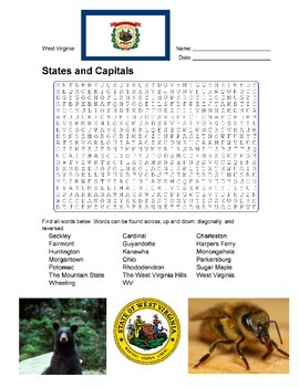 States and Capitals - West Virginia State Symbols Wordsearch Puzzle