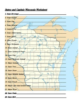 States and Capitals - Wisconsin State Symbols Crossword Puzzle