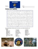 States and Capitals - Wisconsin State Symbols Wordsearch Puzzle