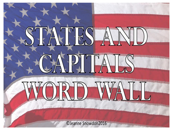States and Capitals Word Wall