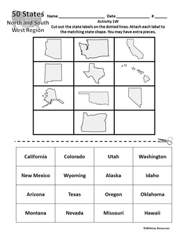 States and Capitals Worksheet Puzzle