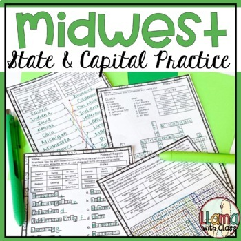 States and Capitals Worksheets from the Midwest Region