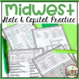 Midwest Region States and Capitals Worksheets