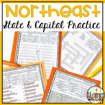 States and Capitals Worksheets from the Northeast Region