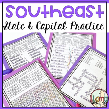 States and Capitals Worksheets from the Southeast Region