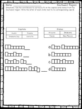 States and Capitals Worksheets from the Southwest Region