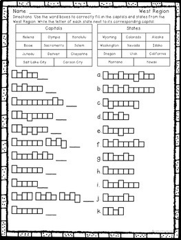 States and Capitals Worksheets from the West Region