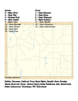 States and Capitals - Wyoming State Symbols Crossword Puzzle