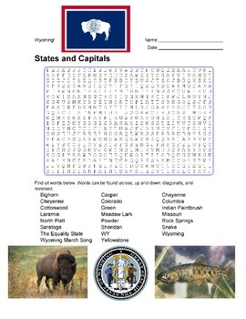 States and Capitals - Wyoming State Symbols Wordsearch Puzzle