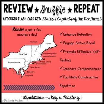 States and Capitals of the Northeast {Review, Shuffle, Repeat Flash Card Set}