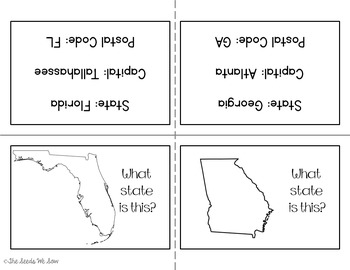 States and Capitals of the South {Review, Shuffle, Repeat Flash Card Set}