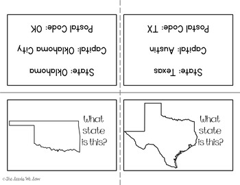 States and Capitals of the Southwest {Review, Shuffle, Repeat Flash Card Set}