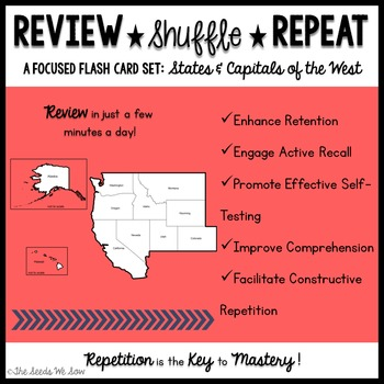 States and Capitals of the West {Review, Shuffle, Repeat Flash Card Set}