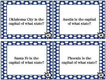 States and Capitals of the West and Southwest Scoot Cards