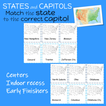 States and  Capitols  100 cards  Matching Game