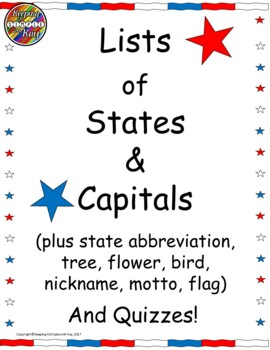 States and Capitols Lists