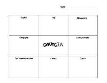 States and Regions LOTUS Graphic Organizer