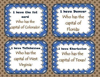 States and capitals {I have, who has}