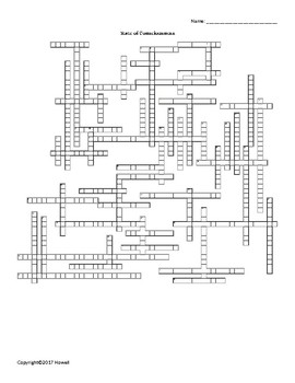 States of Consciousness Vocabulary Crossword For Psychology