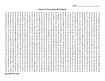 States of Consciousness Vocabulary Word Search for Psychology