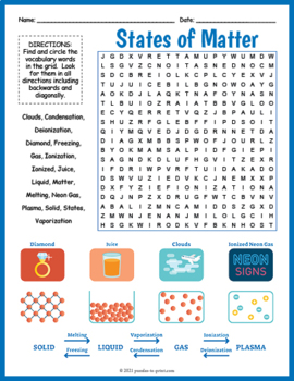 States of Matter Word Search Puzzle