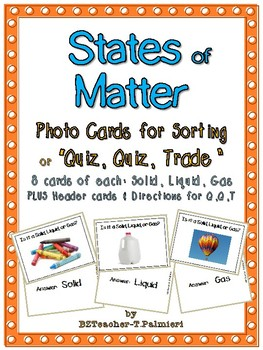 States of Matter - 24 Photo cards for Sorting or Quiz, Qui