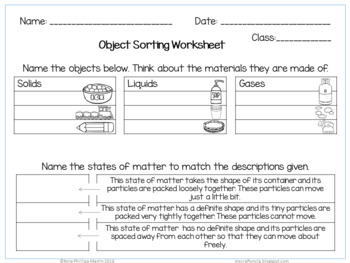 States of Matter activities, worksheets, definition cards and posters