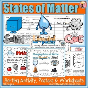 States of Matter activities, worksheets, definition cards