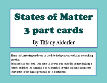 States of Matter 3 part cards and record