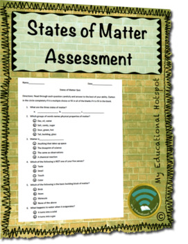 States of Matter Multiple Choice Assessment