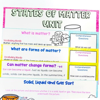 States of Matter: Solid, Liquid, Gas Unit of Nonfiction and Hands on Activities