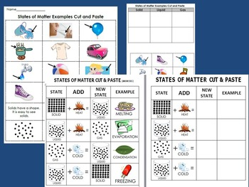 States of Matter Bundle: Teach, Observe & Review- Experiments, Cut & Paste