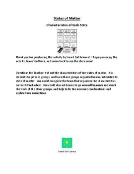 States of Matter - Characteristics Unscramble Group Activity