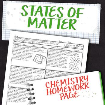 States of Matter Chemistry Homework Worksheet