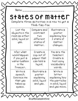 States of Matter Choice Board Think Tac Toe
