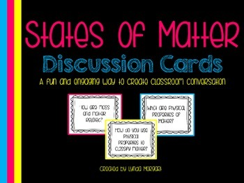 States of Matter Class Discussion Cards