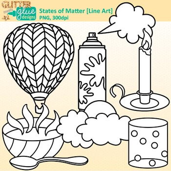 States of Matter Clip Art {Science Graphics for Solids, Liquids, and Gases} B&W