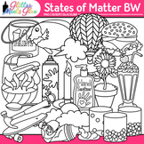 States of Matter Clipart: Solids, Liquids, and Gases B&W {Glitter Meets Glue}