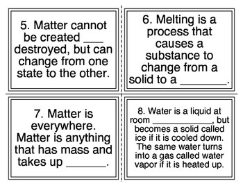 States of Matter Cloze Task Cards (26 Cards)