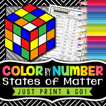 States of Matter Color by Number - Science Color By Number