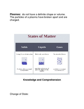 States of Matter Common Core Reading and Writing Activity