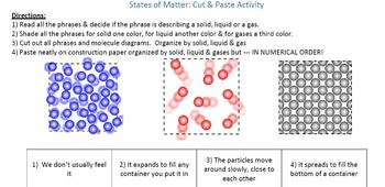 States of Matter Cut and Paste Activity
