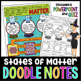 STATES OF MATTER SCIENCE DOODLE NOTES, INB, MINI ANCHOR CHART, AND QUIZ!