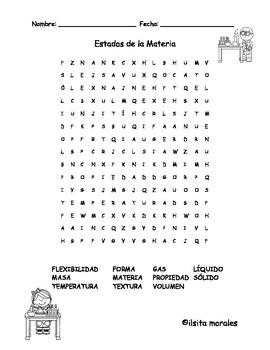 States of Matter / Estados de la Materia Wordsearch