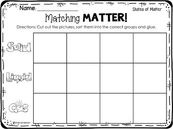 states of matter freebie matching matter sorting printable by sheila melton. Black Bedroom Furniture Sets. Home Design Ideas