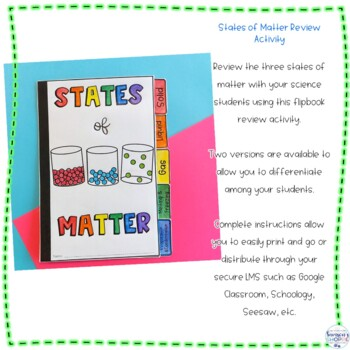 States of Matter Flip Book Review Activity: Solids, Liquids and Gases