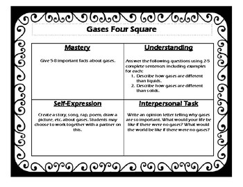 States of Matter Four Square