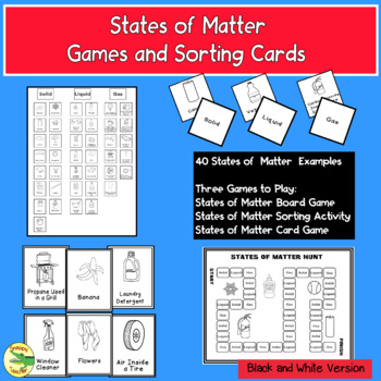 States of Matter Games and Sorting Cards (Black and White Version)