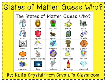 """States of Matter Guess Who?"" Games Pack"